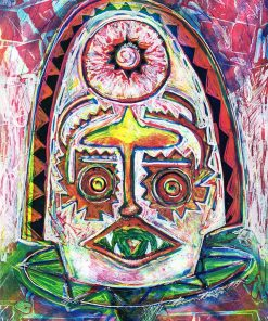 Mask monoprint and screenprint Limited Edition Artist Print Parky Parkydoodles image