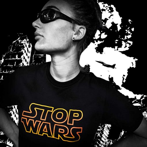 AnotherFineMesh Hand Printed TShirts StopWars Bombed Buildings image