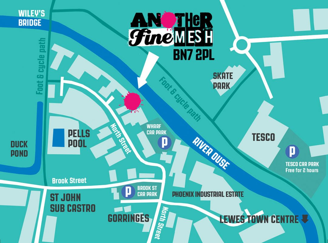 AnotherFineMesh Silkscreen Printing Gallery Art Gallery Irreverence Lewes East Sussex Map image